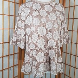 Hazel tan, cream floral lace overly peplum blouse
